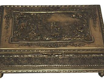 Antique Brass Repousse Box