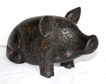 Pig Hand-Carved Painted Wood