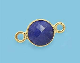 10 ea. Tiny 6mm Blue Saphire and Vermeil Bezel Connecor Link Birthstone