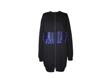 Zip Jacket fleece/organza JK-TEDDY blue