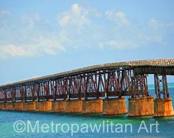 8x10 photograph Florida Keys Ocean Train Trestle