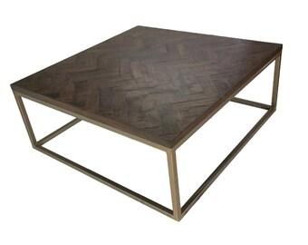 Huge 5' Square brass herringbone coffee table