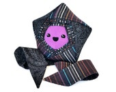 Shooting Star Buddy - Unique Handmade Black and Purple Origami Star – Upcycled One of a Kind Star Plush