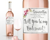 rustic bouquet will you be my bridesmaid proposal mr and mrs floral wine labels cheers wine labels Maid of Honor Proposal bridesmaid box