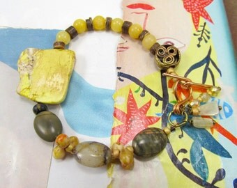 Jade and Citrine Bracelet, Yellow Slab Bracelet, African Trade Bead, Tribal Bracelet, Czech Glass and Green Jasper, Handmade Copper