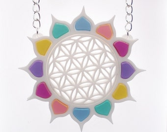 Pastel sunflower of life necklace