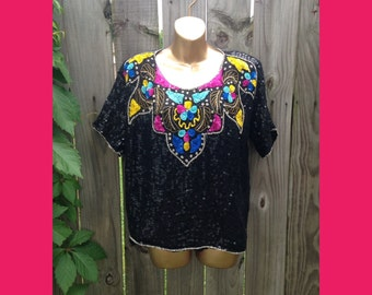 Vintage 80s 100% Silk Beaded and Sequins Top // Size 3X