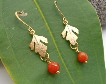 gold Earrings, Gold Oak Leaf Earrings- Dangle Earrings, Oak Tree, Leaf, Leaf Earrings, Fall