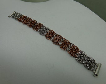 Chainmaille Bracelet, Cuff Chainmaille Bracelet, Helm Chainmaille Bracelet, Copper and Stainless Steel Chainmaille Bracelet