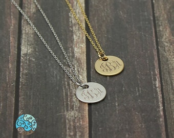 Personalized Monogram Disc Necklace - Choice of colours