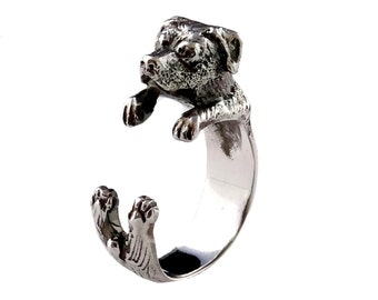 Silver Rottweiler Ring, Sterling Silver Dog Ring, Dog Wrap Ring, Animal Wrap Ring, Animal Jewelry, Animal Jewellery, Silver Jewelry