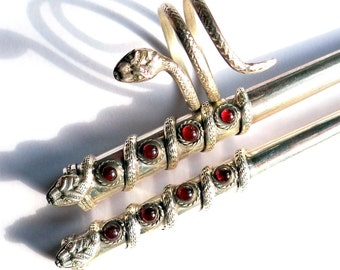 Set of Silver Cigarette Holders with Garnets  and Snake Ring, Slim Size Cigarette Holder, Regular Size Cigarette Holder, Snake Wrap Ring