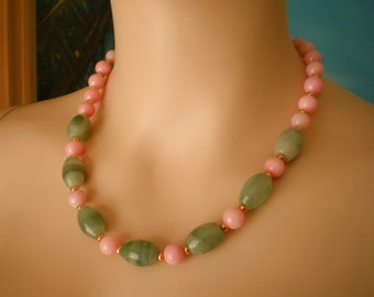 Necklace from gray Agate and pink Jade, strong Magnet Closure