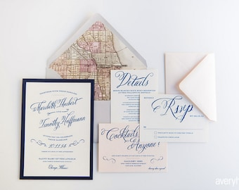 Rustic Vintage Wedding Invitations with Vintage Map Liner