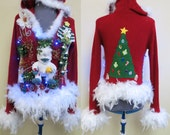 Glam  Beaded Tacky Ugly Christmas Sweater Abominable Snowman Light up Feather boa FooFoo Juniors L Womens Small Hooded Red white trim