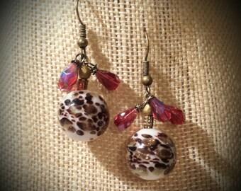 Hand Blown Glass Earrings Black.Briwn Red Earrings Animal Print Glass Dangling Earrings with Scarlet Red Czech Glass Glass Ball Earrings