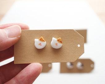Ceramic Yellow Tabby Cat Earrings