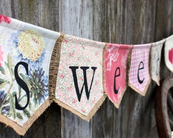 Custom SWEET LOVE bunting banner flag...wedding, celebration