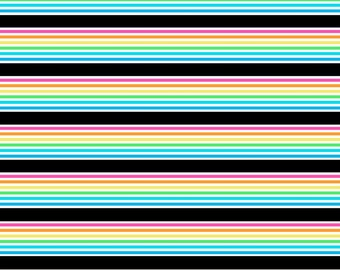 Doodle Rainbows stripes on cotton lycra jersey knit fabric - UK seller