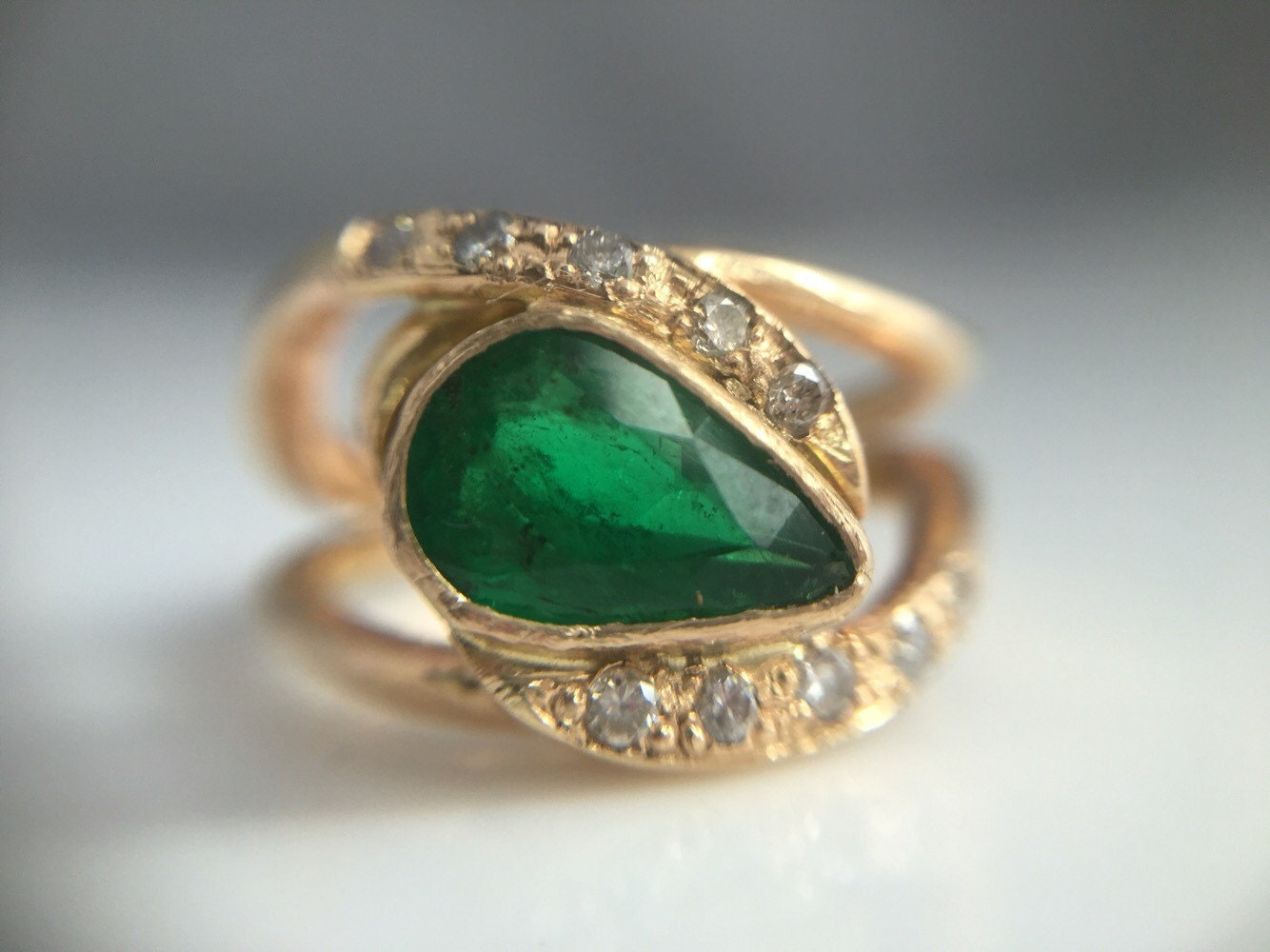 14k gold emerald engagement ring pear emerald with