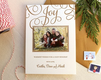 Letterpress Holiday Photo Card - 25 or more flat cards with envelopes - 1 ink color - Christmas Cards, Gold, Joy, Family, DIY