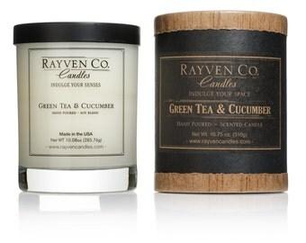 Green Tea & Cucumber  Jar Candle 10.75 oz. 60 hours burn time, room filling Dye Free NEW, lead free wick. candle/box set