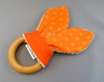 Teething Ring - Orange Shooting Stars