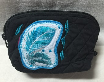 Makeup bag, embroidered feathers
