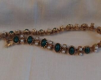 Sarah Coventry Unnamed Bracelet     Vintage, Golden, Pearl, Green