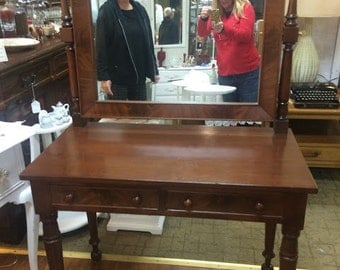 Walnut Vanity & Mirror