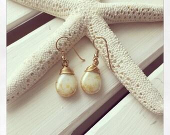 Yellow Earrings, Glass Drop Earrings
