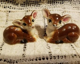 Vintage Set of Deer Salt & Pepper Shakers