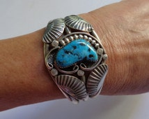 Vintage Navajo Sterling Silver and Bisbee Turquoise Cuff Bracelet Unsigned
