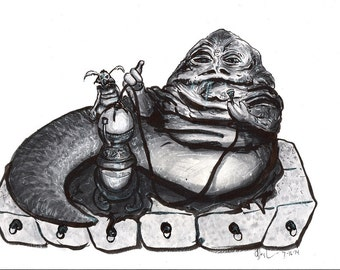 Jabba the Huttand Salacious Crumb Sketch by Gary Deslauriers