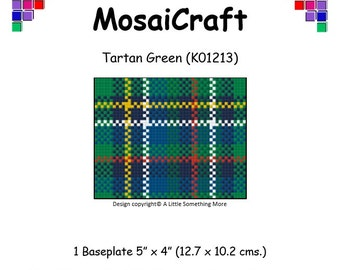MosaiCraft Pixel Craft Mosaic Art Kit 'Tartan Green' (Like Mini Mosaic and Paint by Numbers)