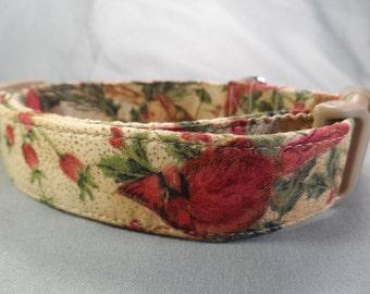 Cardinals on Tan Christmas Dog Collar