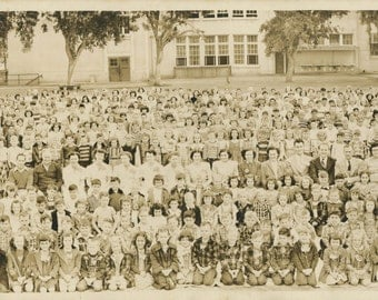 1950 Panoramic Photo Of Students And Staff Of The Winchell School In Fresno, CA