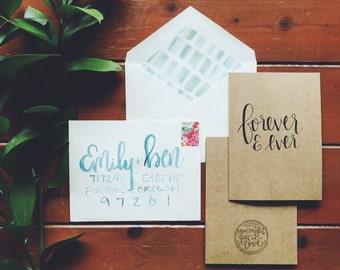 hand-lettered forever & ever card
