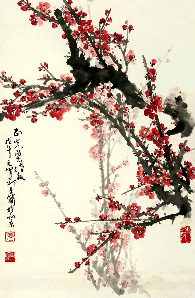 Chinese art prints Flower paintings Plum Tree Blossoms FINE