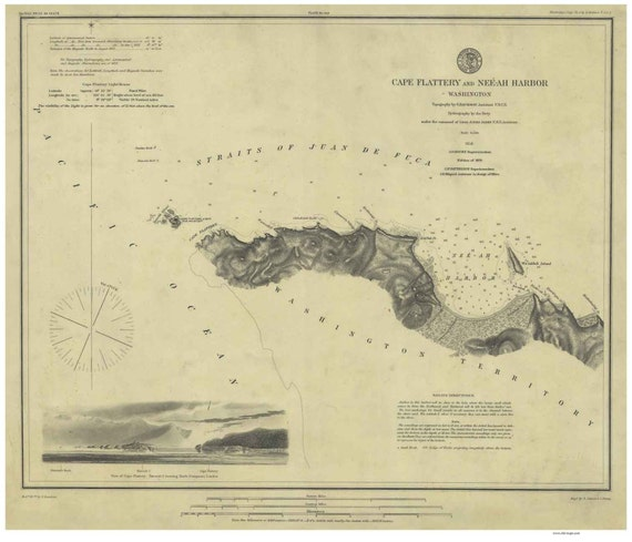 Cape Flattery And Neeah Harbor 1879 Nautical Map Washington PC