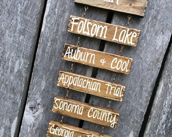 Travel Log hand painted sign - with hiking trails