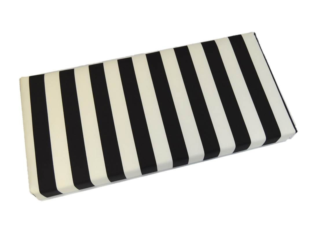Indoor Outdoor Black And White Stripe Cushion For Bench