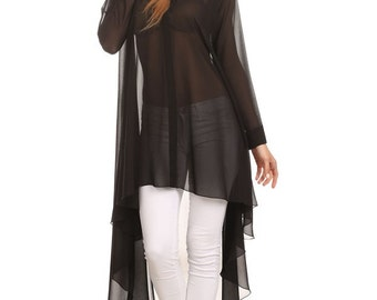 Black Sheer Long Sleeve Top
