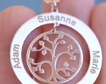 14k Solid Gold, Tree of Life Necklace, Family Tree Necklace, Mothers Day Necklace, Grandmother Gift, Christmas Gift