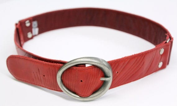 SALE - HURRICANE - belt for pant, leather - red