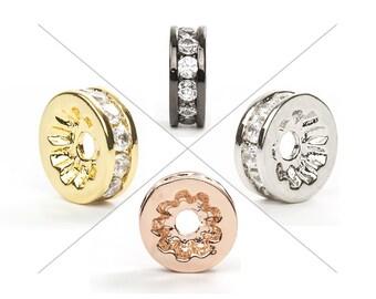 Spacer Bead, CZ Pave Bead, 8x3mm, Cubic Zirconia Pave Bead, 1 Piece, CB132