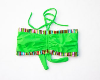 Colorful Bikini Top, Boho Swimsuit Top, DDD Bathing Suit, Bra Sized Swimwear, Strapless Bikini, Swimsuit Top, Bikini Top