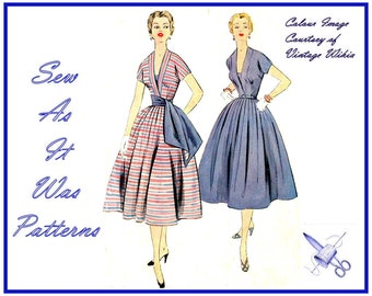 1950s McCalls 3070 Flared Skirt Dress Kimono Sleeves Deep V Neckline Waist Sash Vestee Insert Misses Vintage Sewing Pattern Size 14 Bust 32