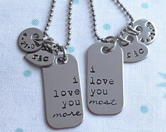 I love you more, I love you most, custom necklace set, Couples Set, Wedding Gift, Gift For Girlfriend, Gift for Boyfriend, Present