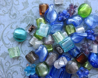 Silver Foil Glass Bead Mix, 24 Beads - Item 3298